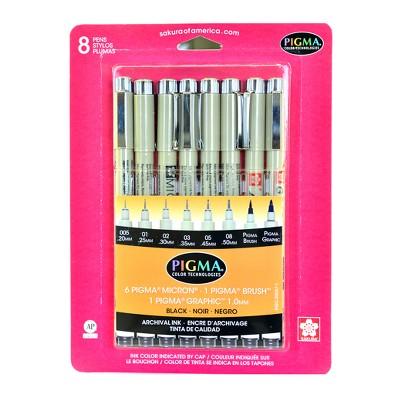Pigma Micron Drawing Pens Black Tones - Sakura 8ct