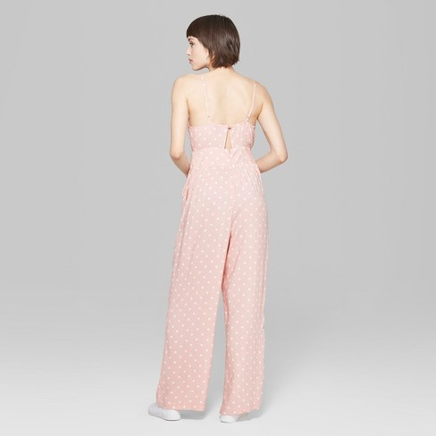 ddcb35f10a71 Women s Polka Dot Strappy Ruched Front Cutout Jumpsuit - Wild Fable™ Light  Pink   Target
