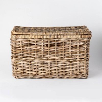 "Lidded Kooboo Rattan Basket 17.5"" x 17.5"" - Threshold™ designed with Studio McGee"