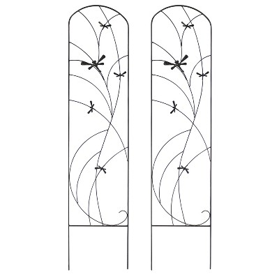 "55.75"" Dragonfly Delight Steel Decorative Garden Trellis - Set of 2 - Sunnydaze Decor"