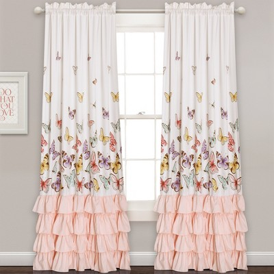 """pink-flutter-butterfly-window-curtain-set-(84""""x52"""")-2pc---lush-decor by shop-this-collection"""