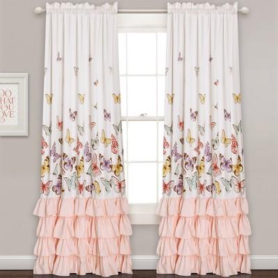 """2pc 84""""x52"""" Flutter Butterfly Window Curtain Set Pink - Lush Décor"""