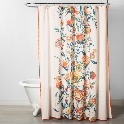 Placed Floral Print With Pom Trim Shower Curtain - Opalhouse™