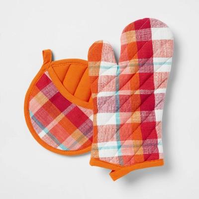 2pc Cotton Plaid Oven Mitt and Pot Holder Set Orange - Opalhouse™