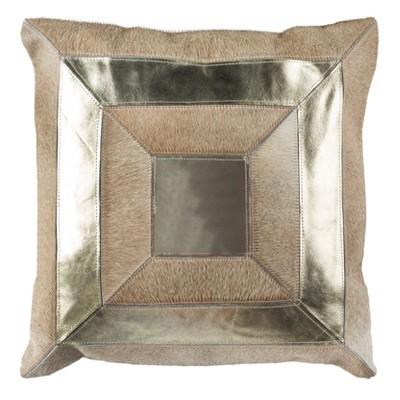 "Covina Metallic Cowhide Pillow - Beige/Gold - 20"" X 20""  - Safavieh"