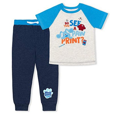 Nickelodeon Boy's 2-Piece Blue's Clues Short Sleeve Graphic Tee and Jogger Pant Set