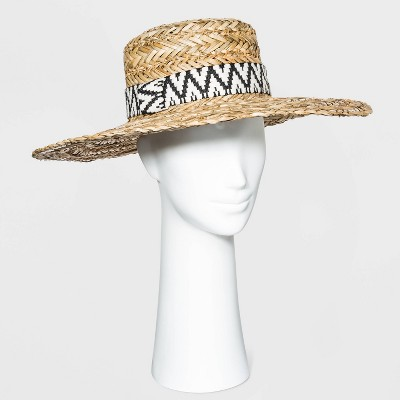 Women's Wide Brim Straw Boater Hat with Guitar Strap Band - Universal Thread™ Natural