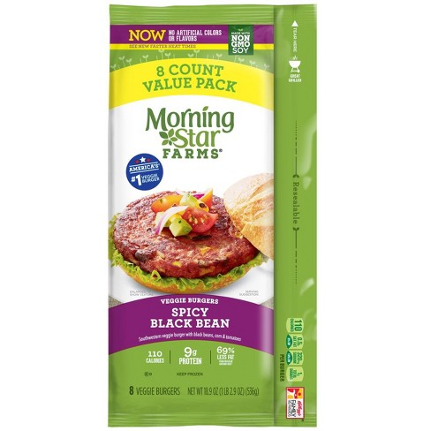 Morningstar Farms Spicy Frozen Black Bean Veggie Burgers - 8ct - image 1 of 4