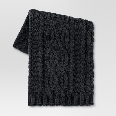 Cable Knit Throw Blanket (50 x60 )- Dark Gray - Threshold™