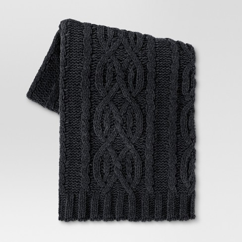 Cable Knit Throw Blanket 50x60 Dark Gray Threshold Target