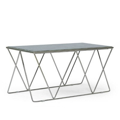 Sardis Modern Glam Handcrafted Marble Top Coffee Table - Christopher Knight Home