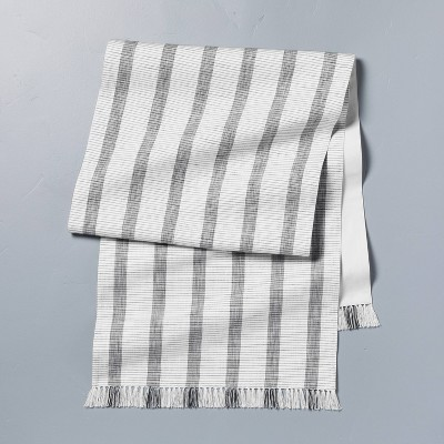 Oversized Bold Stripes Fringe Table Runner Dark Gray/Sour Cream - Hearth & Hand™ with Magnolia