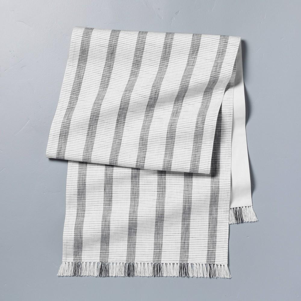 Oversized Bold Stripes Fringe Table Runner Dark Gray Sour Cream
