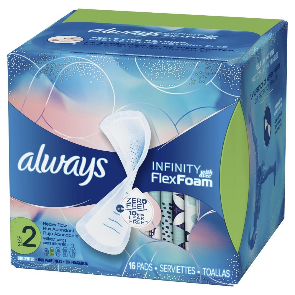 Always Infinity Ave Flex Foam Pads - Size 2 - 16ct