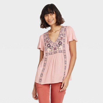 Women's Short Sleeve Embroidered Top - Knox Rose™