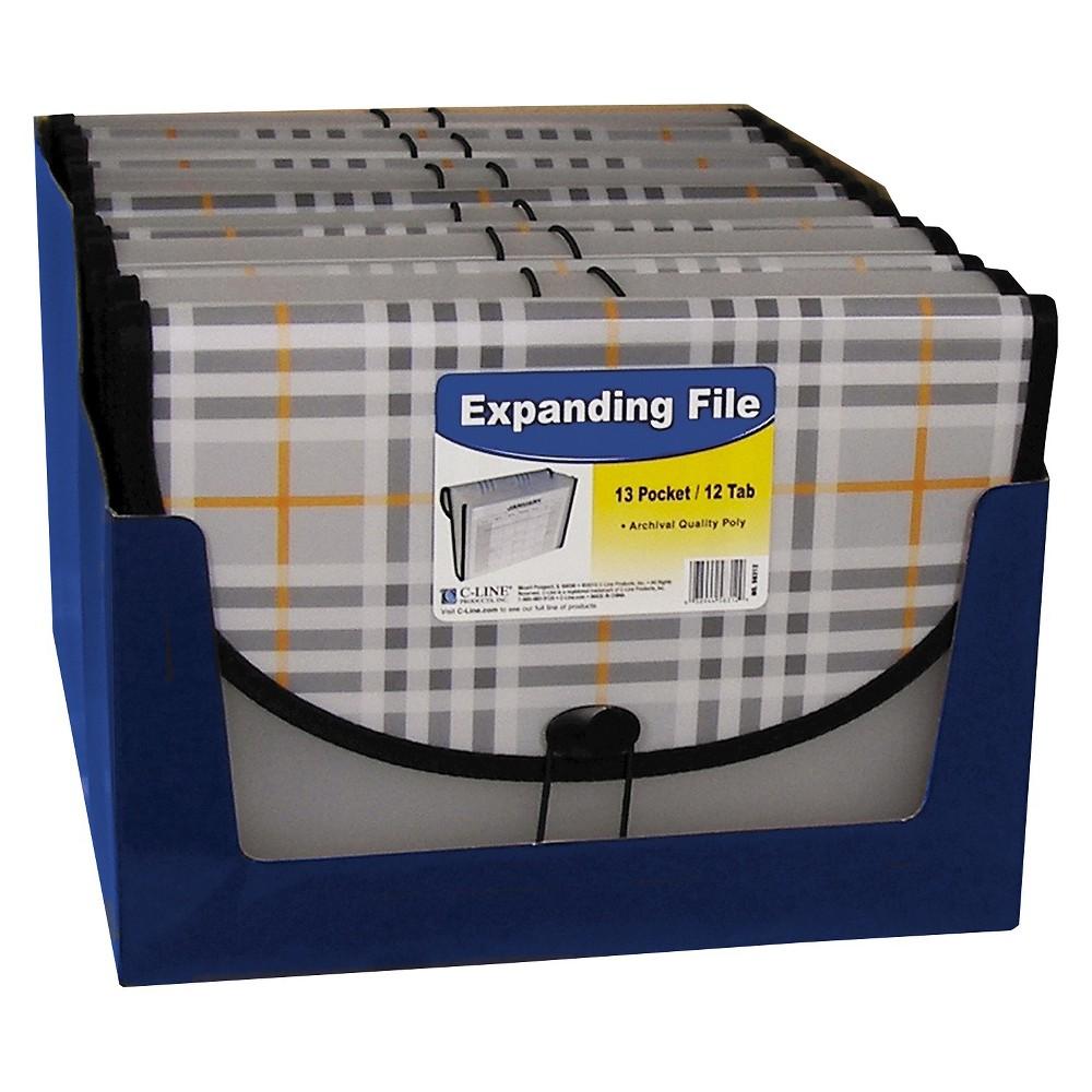 C-Line Expanding File Folder Letter Size13 Pockets 1.5 Exp - Plaid, Gray