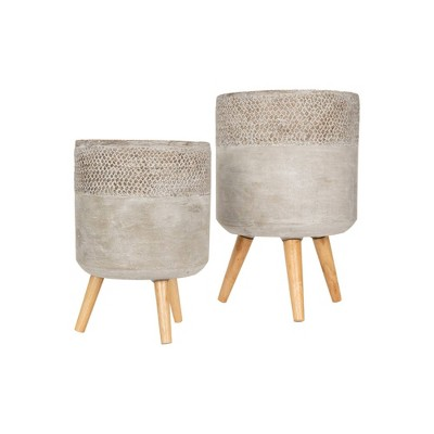 2pc Cement Planter with Removable Wood Legs Gray - 3R Studios