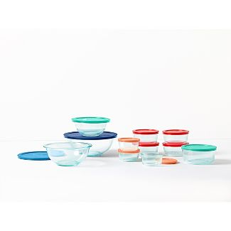 Pyrex 22pc Glass Mixing Bowl and Food Storage Set with Lids