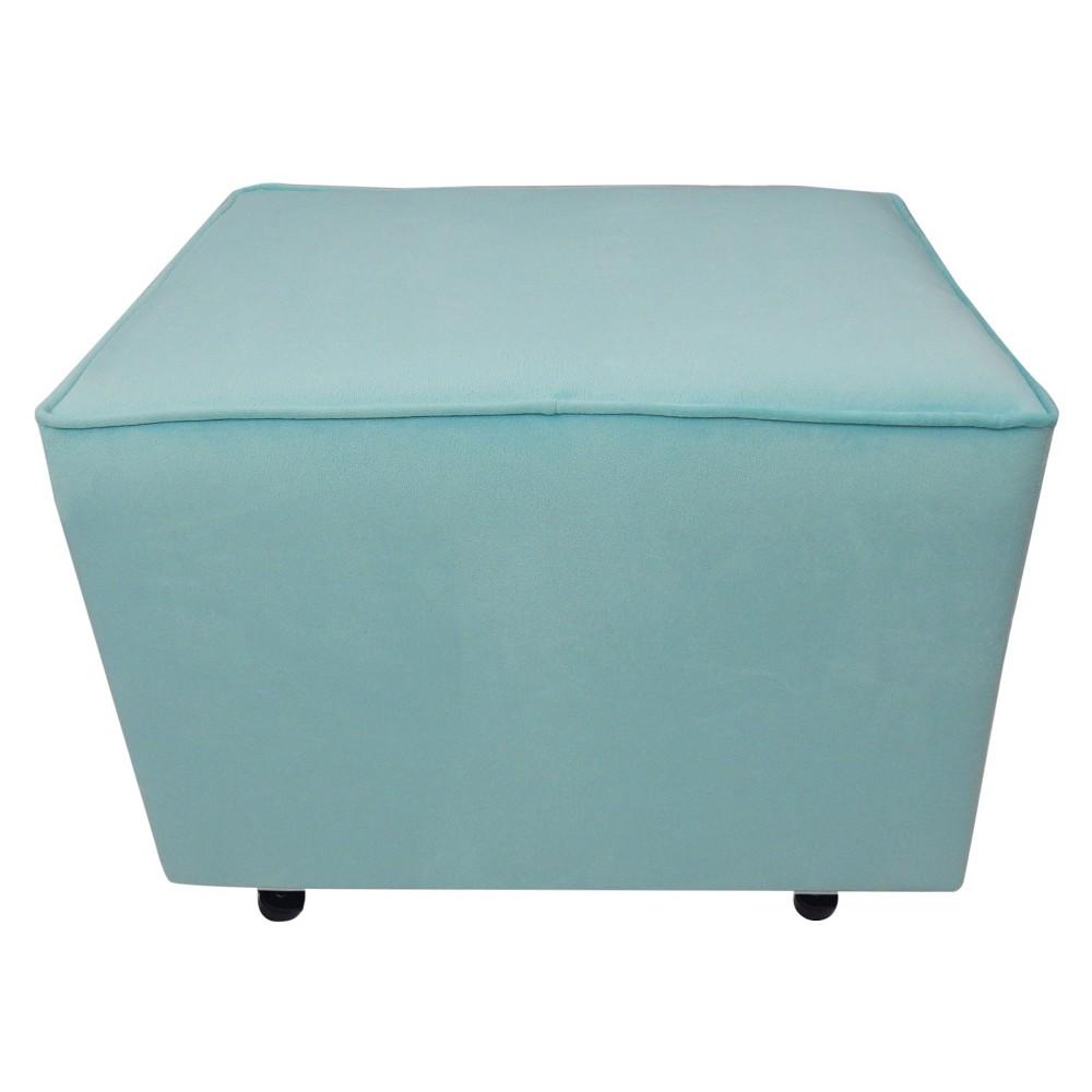 Bette Upholstered Ottoman -Aqua, Blue