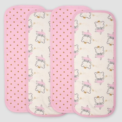Gerber Baby Girls' 4pk Princess Burpcloths - Pink/Ivory