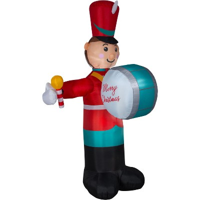 Gemmy Animated Christmas Airblown Inflatable Drumming Soldier, 8 ft Tall, Multicolored