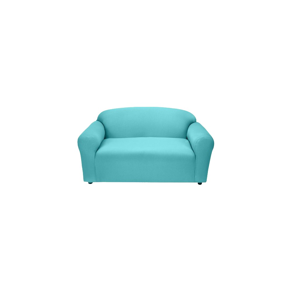 Image of Aqua Jersey Loveseat Slipcover - Madison Industries, Blue