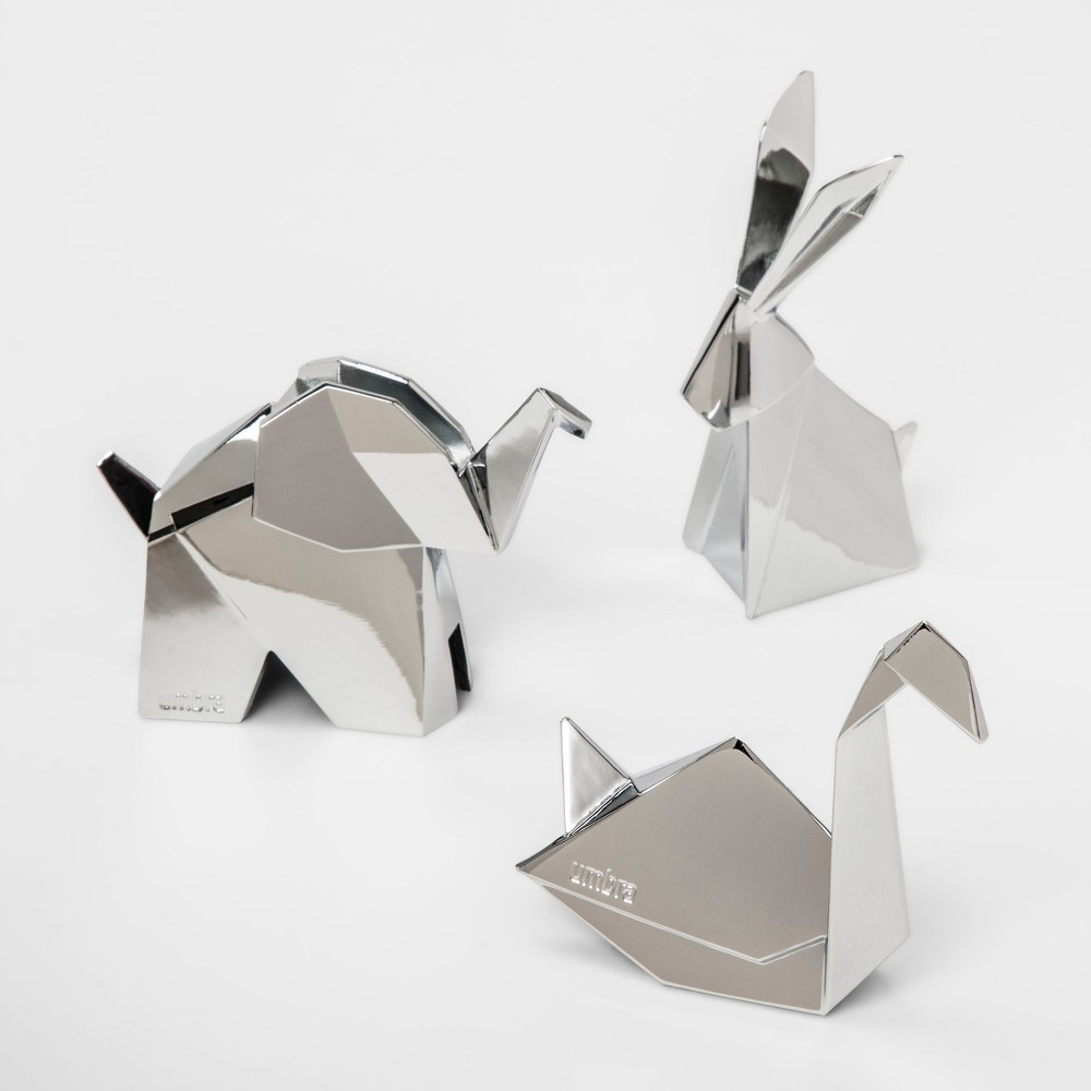 Image of 3pk Origami Ring Holder Stand Chrome - Umbra, Adult Unisex, Silver