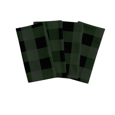 "Farmhouse Living Holiday Buffalo Check Fabric Napkins, Set of 4 - 20"" x 20"" - Elrene Home Fashions"