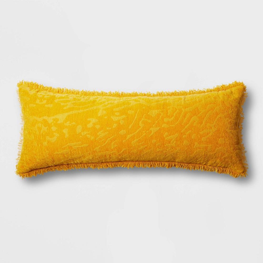 Oversized Oblong Alligator Chenille Fringe Throw Pillow Saffron Opalhouse 8482