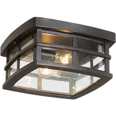 """John Timberland Mission Outdoor Ceiling Light Fixture Oil Rubbed Bronze 12"""" Clear Seedy Glass for Exterior House Porch Patio Deck"""
