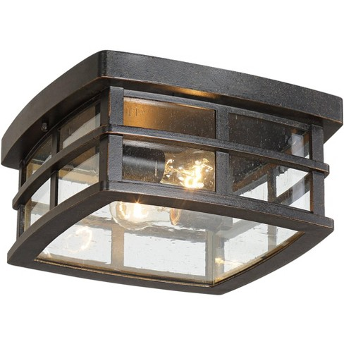 """John Timberland Mission Outdoor Ceiling Light Fixture Oil Rubbed Bronze 12"""" Clear Seedy Glass for Exterior House Porch Patio Deck - image 1 of 4"""
