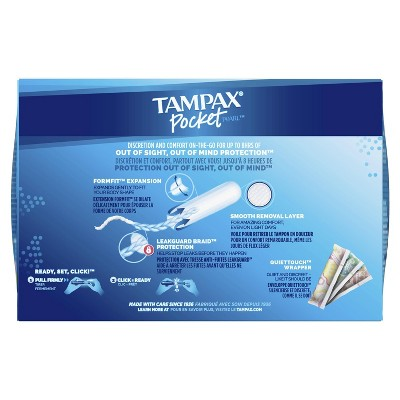 Tampax Pocket Pearl Regular Absorbency With LeakGuard Braid & Unscented Plastic Tampons - 32ct : Target