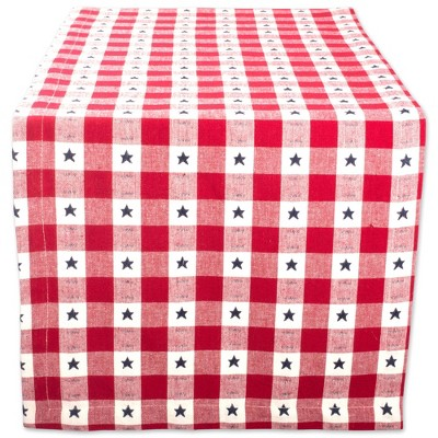 "72""x14"" Star Check Table Runner Red/White - Design Imports"