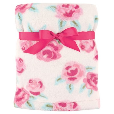 Hudson Baby Unisex Baby Super Plush Blanket - Pink Rose