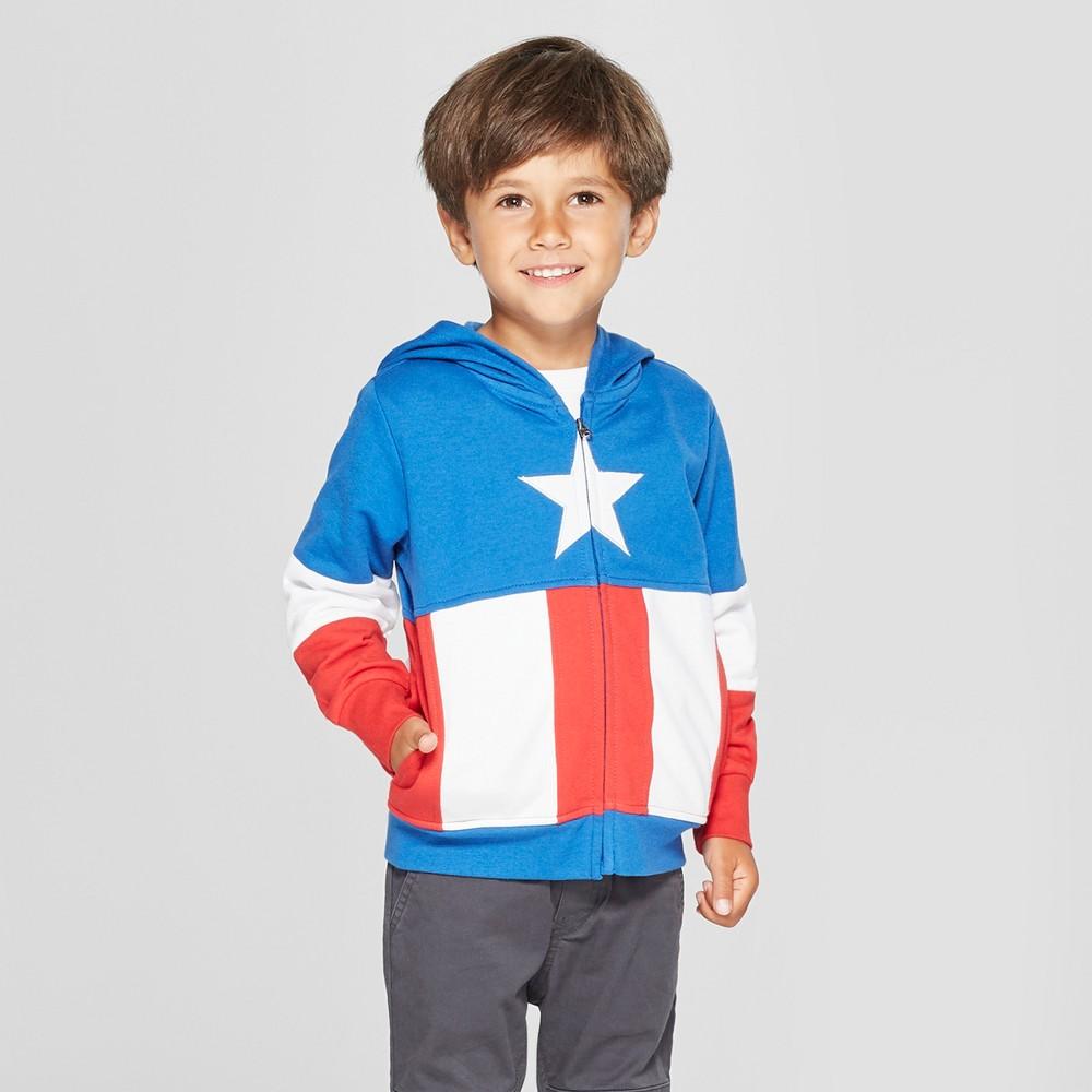 Toddler Boys' Marvel Captain America Hooded Sweatshirt - Red/White/Blue 4T
