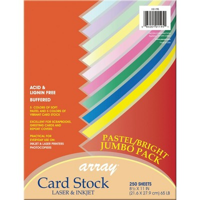 Array Card Stock Paper, 8-1/2 x 11 Inch, Assorted Bright Pastel Colors, pk of 250