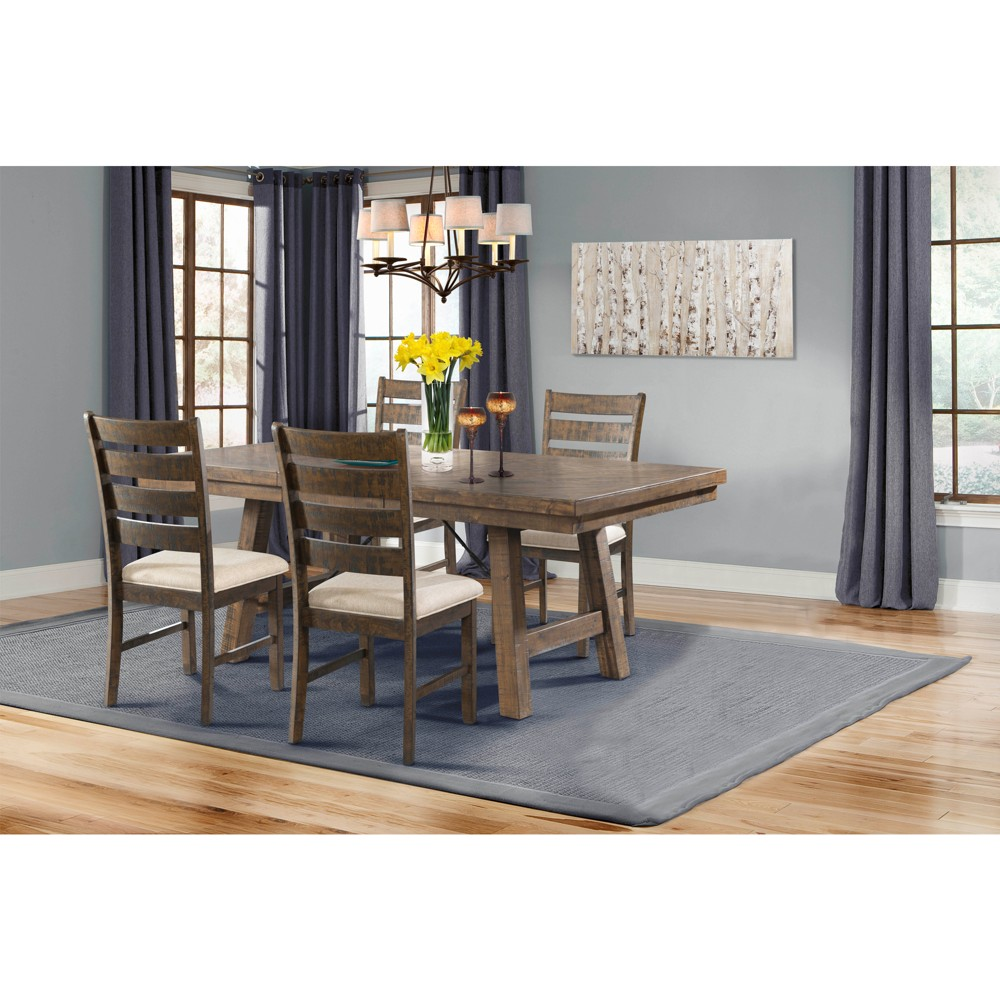 Dex 5pc Dining Set Table, 4 Ladder Side Chairs Walnut Brown/ Cream Upholstery - Picket House Furnishings