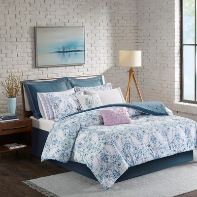 Blue Perla Cotton Printed Comforter Set King 10pc
