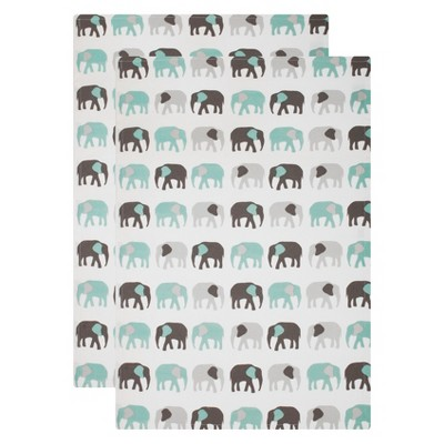 2pk Elephants Kitchen Towel White And Aqua - Mu Kitchen
