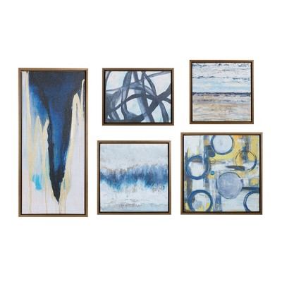 (Set of 5)Bliss Gallery Art Decorative Wall Art Set Natural