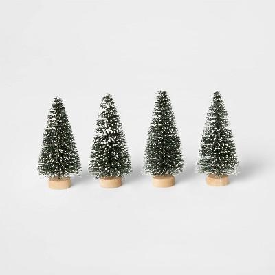 4pk Flocked Bottle Brush Christmas Tree Set Decorative Figurine Green - Wondershop™