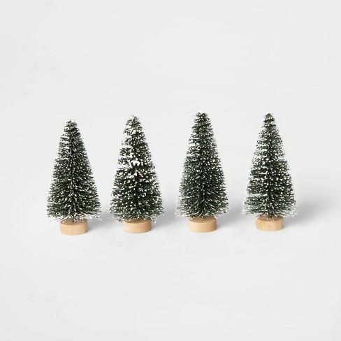 4pk Flocked Bottle Brush Christmas Tree Set Decorative Figurine Green - Wondershop™ - image 1 of 1