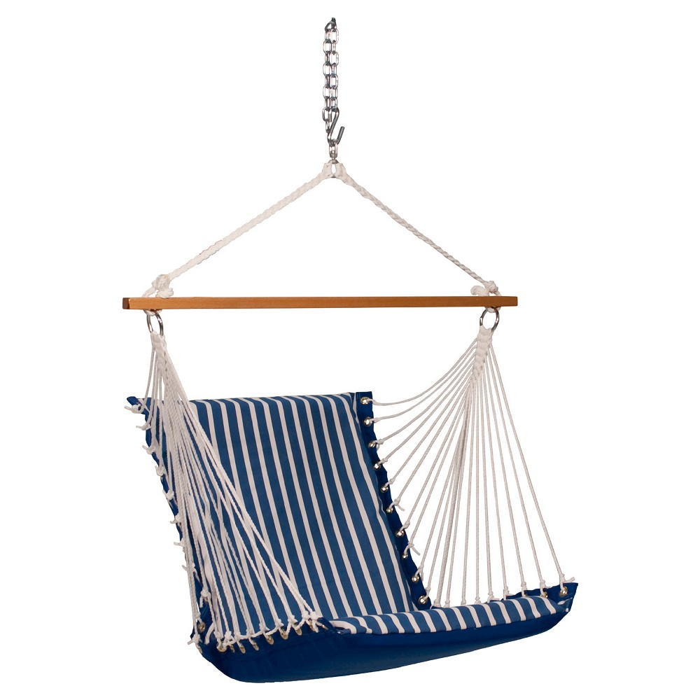 Algoma Sunbrella Soft Comfort Cushion Hanging Chair -Shore Regatta Stripe/Canvas Regatta Solid, Blue
