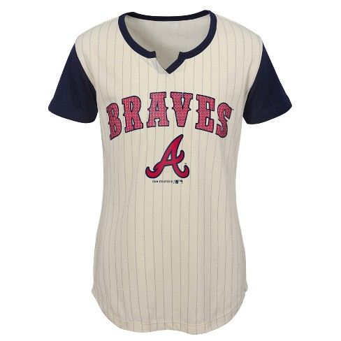 new style fe786 e2c6d Atlanta Braves Girls' In the Game Cream Pinstripe T-Shirt - XS