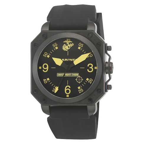 Men's' Wrist Armor U.S. Marine Corps C4 Swiss Quartz Watch - Black - image 1 of 5