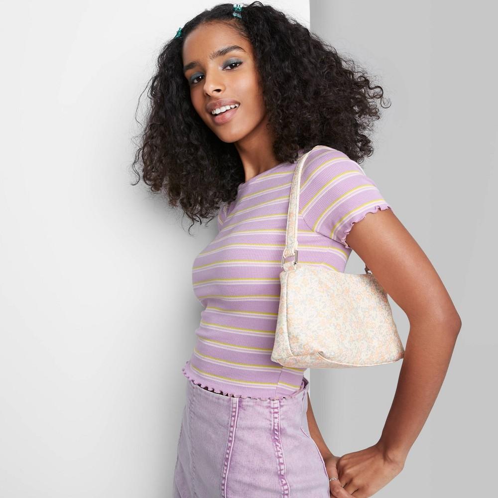 Women 39 S Short Sleeve Lettuce Edge Baby T Shirt Wild Fable 8482 Purple Striped S