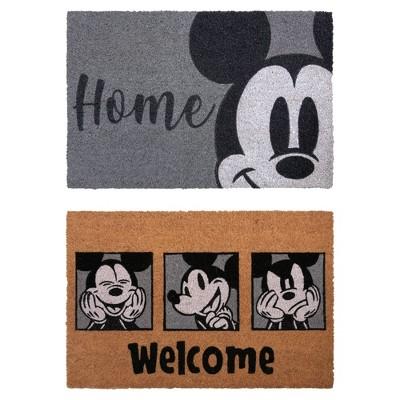 Mickey Mouse 2pk Coir Door Mats Gray