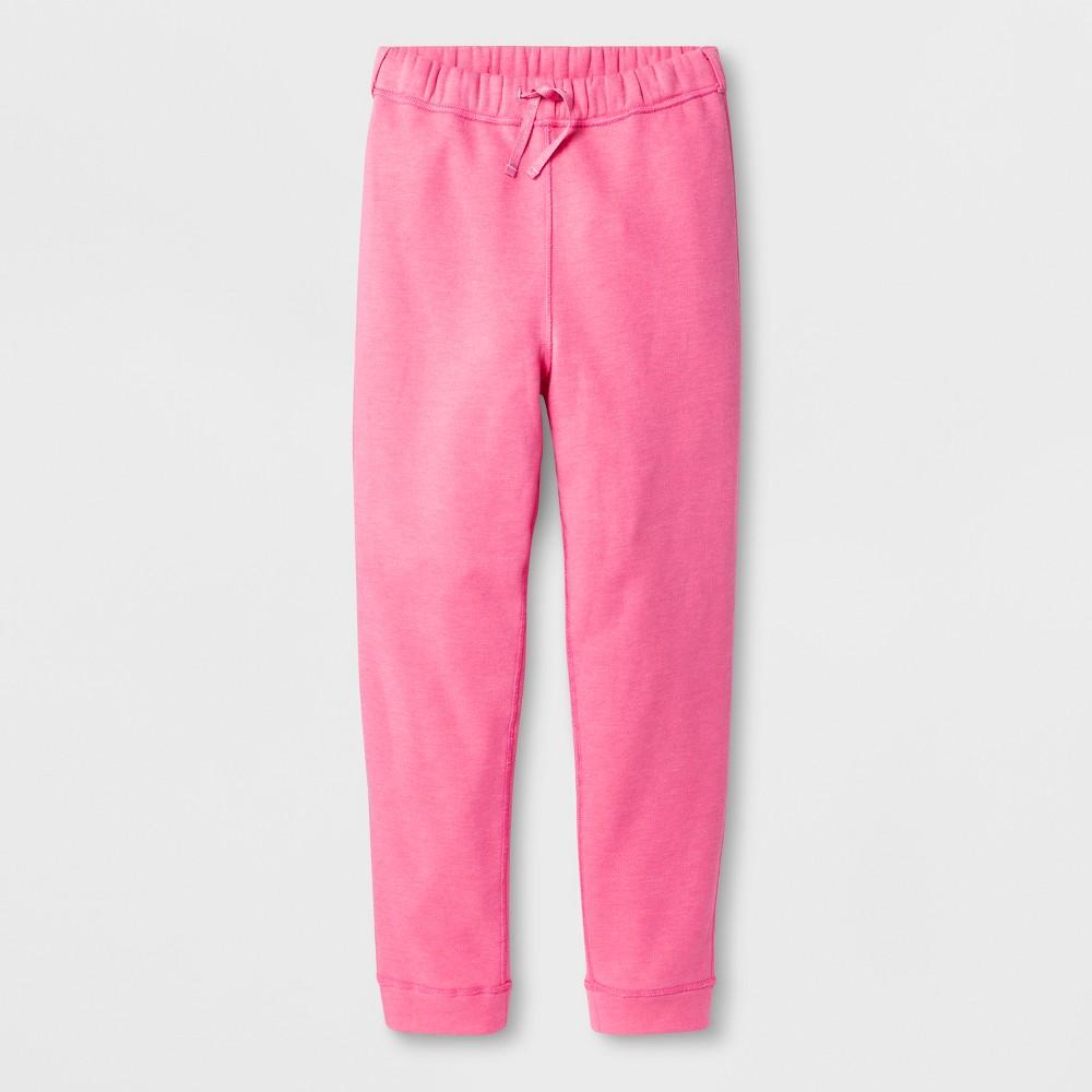 Girls' Adaptive Fleece Jogger Pants - Cat & Jack Pink S