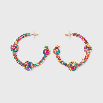 SUGARFIX by BaubleBar Three Quarter Beaded Hoop Earrings
