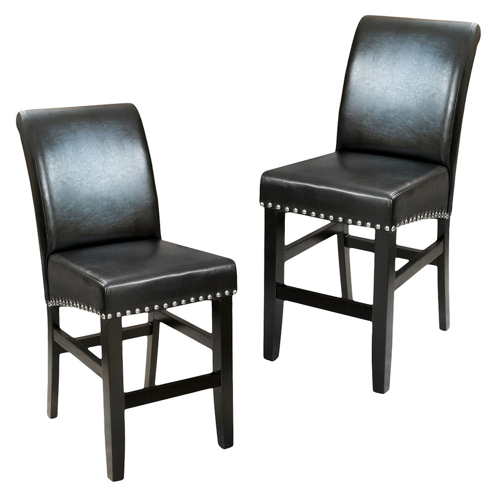 Lisette Leather 25 Counter Stool - Black(Set of 2) - Christopher Knight Home